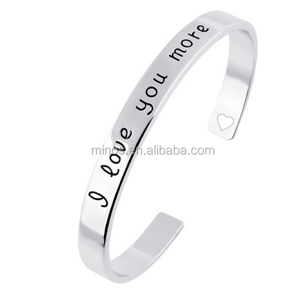 engravable i love you more stainless steel cuff bracelet high quality bracelets for women