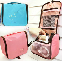 Bird picture fashion polo travel bag waterproof cosmetic bag with mirror