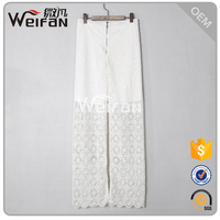2016Fashion Lace Trouser White Transparent Elegant Long Women Pant