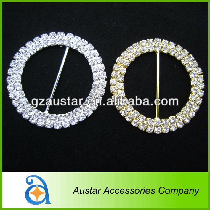 Wholesale silver and gold 50mm 2 rows round rhinestone chair sash buckle