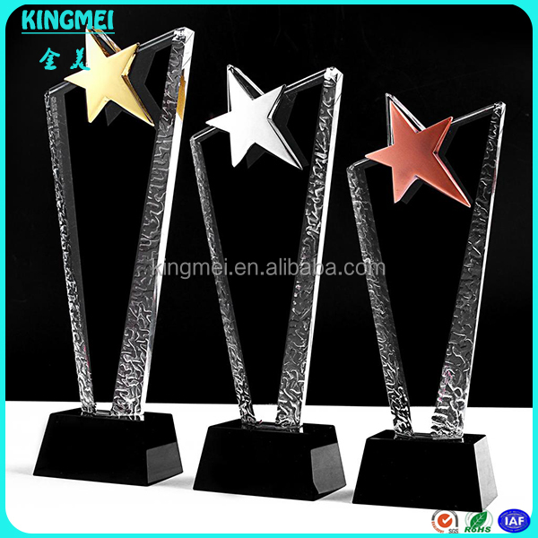 Colored Shinning Star 3d laser engraved Crystal Plaque Award for Memento