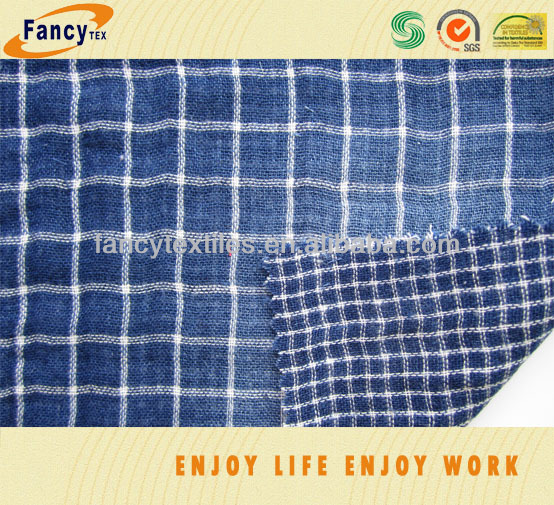 100pct cotton 2 layer indigo yarn dyed fashion shirting fabric