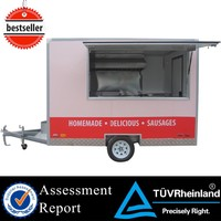 CE rolling wheels food cart food trailer with big wheels 1.5 ton mini food vans mobile