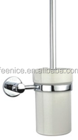 Brass chromed mirror finish round design bathroom accessories Toilet brush holder FNB211080