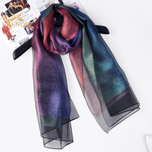 Summer 2017 Trends New Style Hangzhou Fashion Women Scarf Ladies Elegant Colorful Shiny Double Layer Organza Silk Scarf