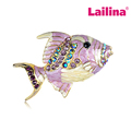 Golden Tone Fish Brooch Pins Light Purple Rhinestones Pearlescent Flounder Animal Brooches for Women Best Gift