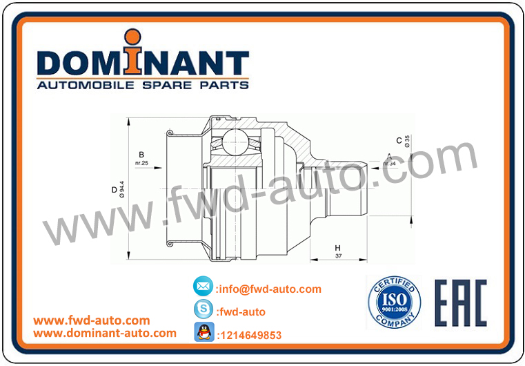 CV JOINT 374130,0374130,4242328,04242328,90304156 FOR OPEL