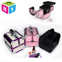 Portable professional foldable beauty vanity makeup cosmetic jewelry organizer train case with trays drawers locks