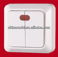 European Style Surface Mounted Two Gang One Way Wall Switch with Light ( SR-1802)