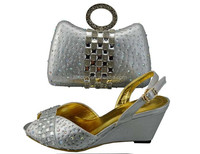 W336 silver New arrival 2015 shoes matching bag African Nigeria christian peep toe femininos valentine shoes match bag