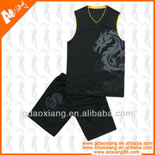 Hot selling high class v-neck basketball shirts and shorts