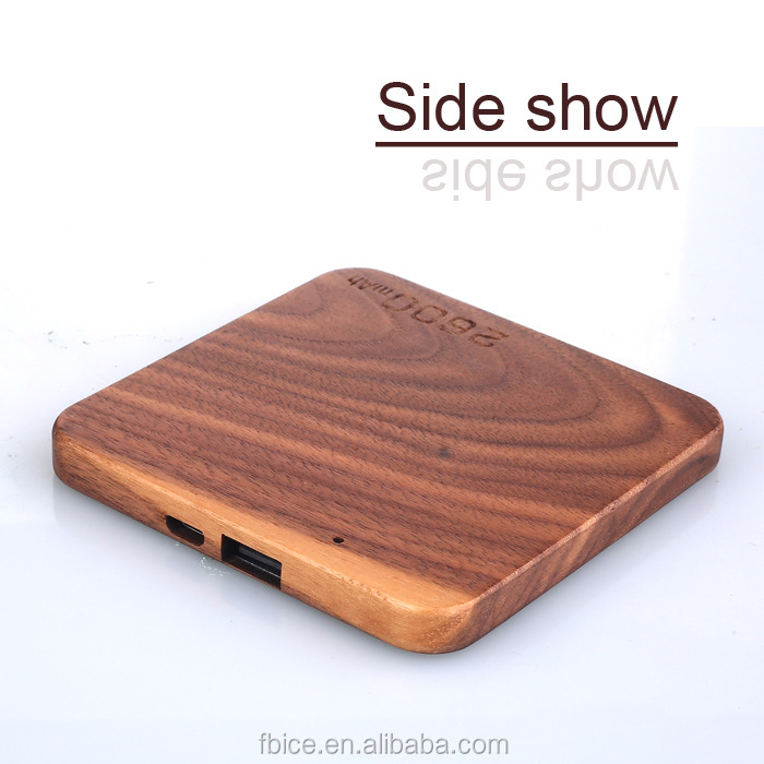 emergency charger square shape wooden case powerbank ultra-thin power bank