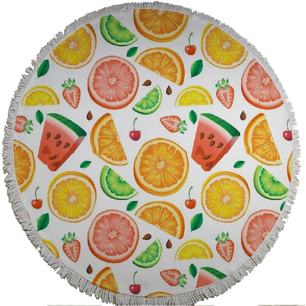 2017 Innovative Product Ideas Custom Fabric Printing Microfiber Sublimation Round Beach Towel Fruit Shaped
