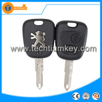Metal logo on key fob blanks wholesale with 206 uncut blade 2 button remote car key cover shell for Peugeot 206 205 106 405