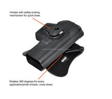holster manufacturers made Black Tactical military cqc holster with release button made of polymer