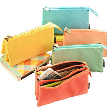 Fatatic Design Durable Cavas Custome Color Three Layers Zipper Pencil Case Bag