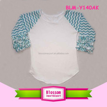 Women cotton icing ruffle chevron sleeve print waist curved t-shirt baby boy raglan tee baseball plus size XXL t-shirt