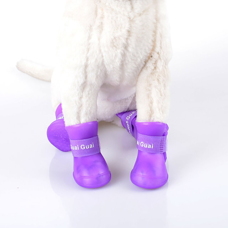 Waterproof rain silicone jelly color pet shoe socks for dogs cats pet shoes for dogs cat shoes
