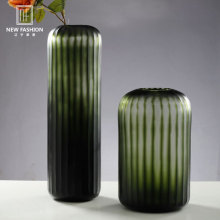 Modern Art Ink-green Artificial Carving <strong>Glass</strong> Vase