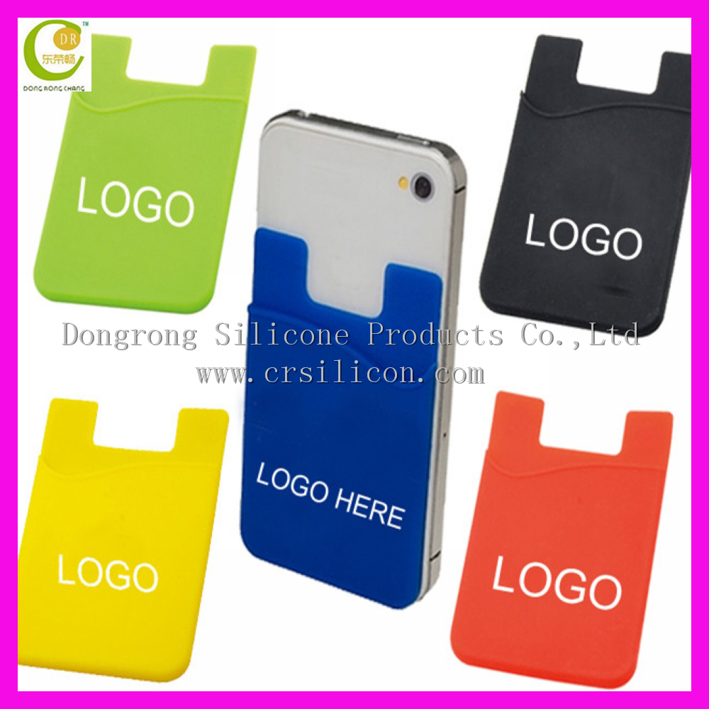 High quality cell phone 3M adhesive silicone smart phone wallet