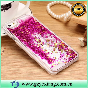 Hot Selling 3D Glitter Flowing Plastic Liquid Cover For Iphone 6 Transparent