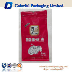 Plastic bag manufacturer flat bottom plastic bag with color print for Red dates