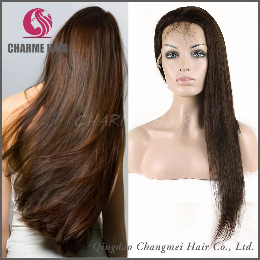 Wholesale Natural Brown Straight Full Lace Wigs Virgin European Hair