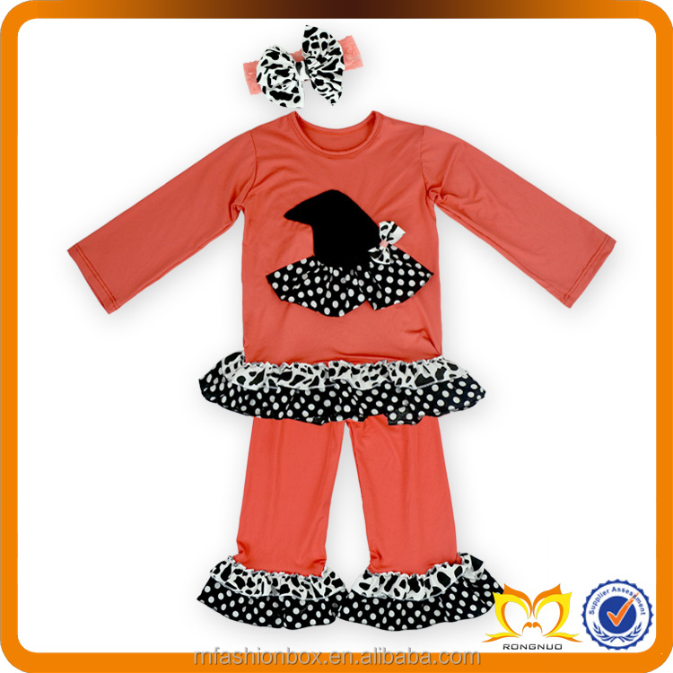 Smocked Children Halloween Clothing wholesale Girls Fall Boutique Outfits Polka Dots Ruffle Pants Kids Wholesale Used Clothing