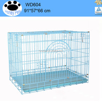 Welded wire mesh dog cage Kennel Pet Cat Metal Folding Portable Puppy Carrier Tray Home