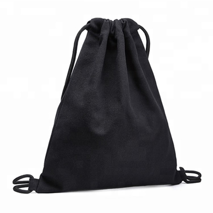 Custom durable blank black taobao organic cotton soft cloth drawstring bag