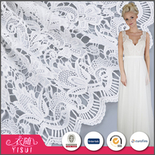 Good quality custom made white color elegant italian lace fabric