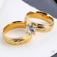 18K Gold Plated Imitation Diamond Couple Jewelry Rhinestone Ring