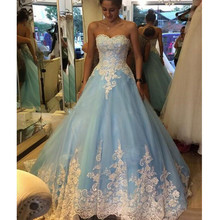 FA13 Robe De Mariage Ball Gown Blue Wedding Dress With White Appliques Plus Size Vintage Lace Bridal Dresses Vestidos De Novia