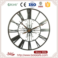 Antique art design antique-clockwise pattern wire quartz wall clock for kitchen