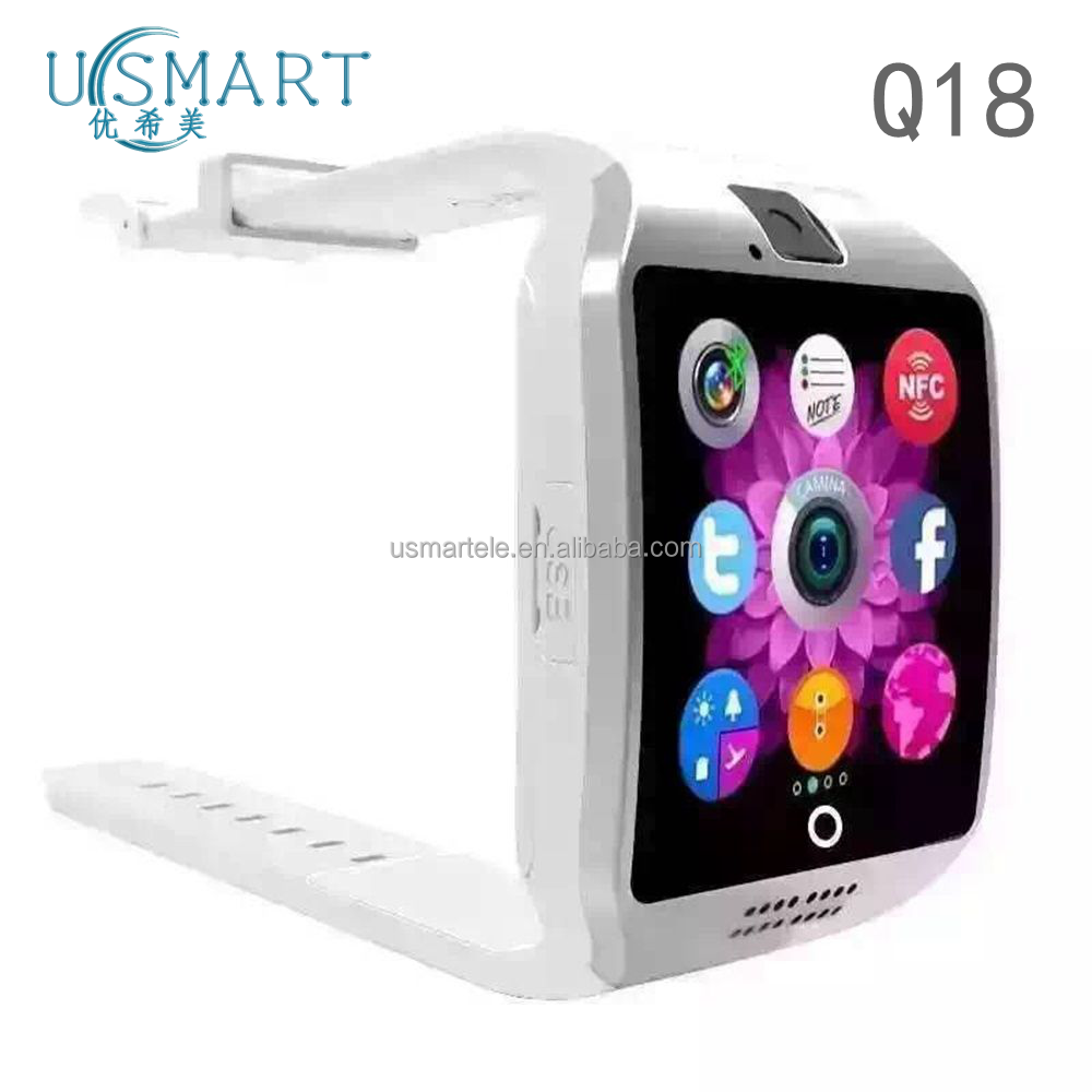 OEM brand phone Q18 smartwatch MTK6260A with NFC touch screen camera bluetooth support Android and IOS nfc the united sates shop