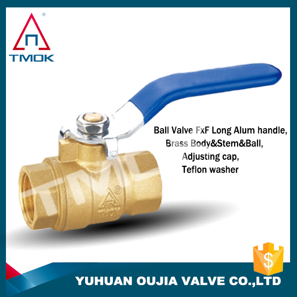 Brass color surfaces and blue long handle ball valve for better quality