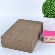 Wholesale Custom Handmade Leather Book Gift Box Rectangle Leather Book storage Box Grey Leather The Bible Storage Box