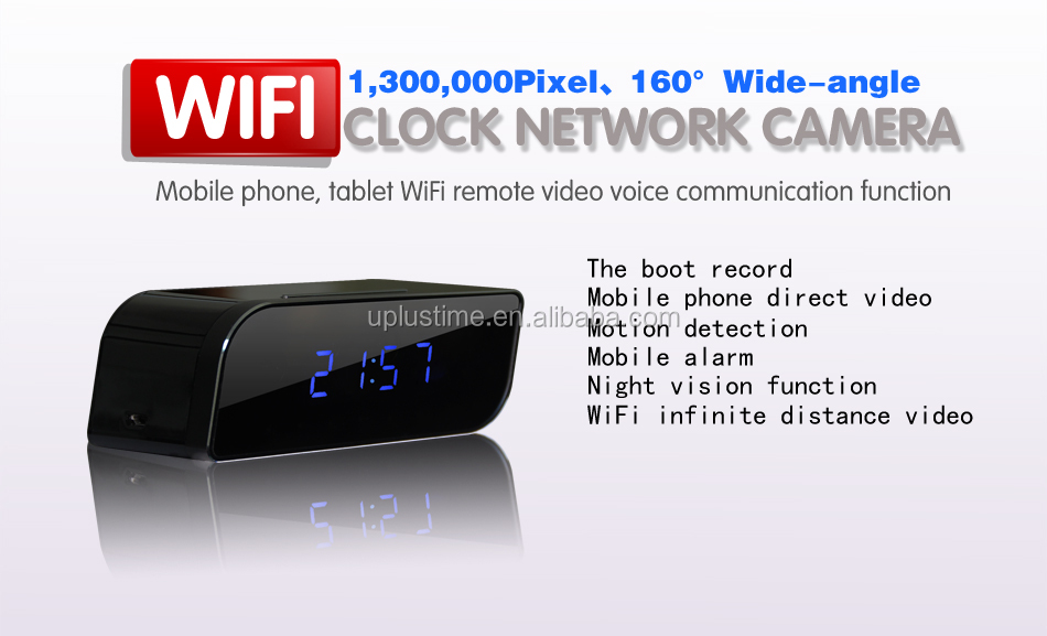 IPC table clock with hiding H.264 720P HD WIFI Remote Monitoring Camera for home or office