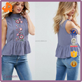 custom make sleeveless lady blouse & top,new arrival blouse embroidered designs