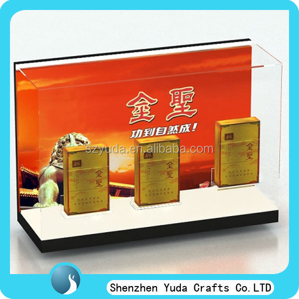 custom counter top high clear acrylic cigarette display case for supermarket cheap