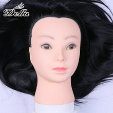 Black Hairdressing Mannequin Heads for Cutting Braiding with Synthetic Hair Practice Training Model Head