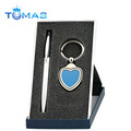metal goft gift pen set with heart shaped photo keychain