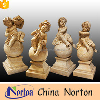 carving cultured natural stone four children garden statues NTMS0022Y