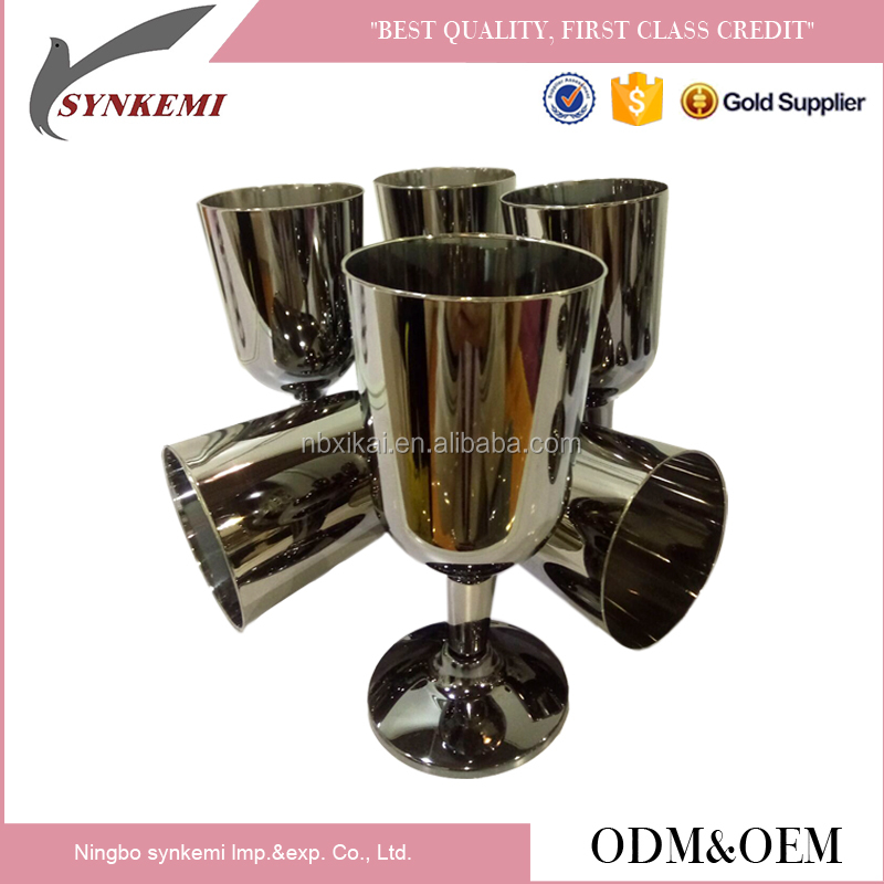 Stainless steel plated plastic wine glass cup