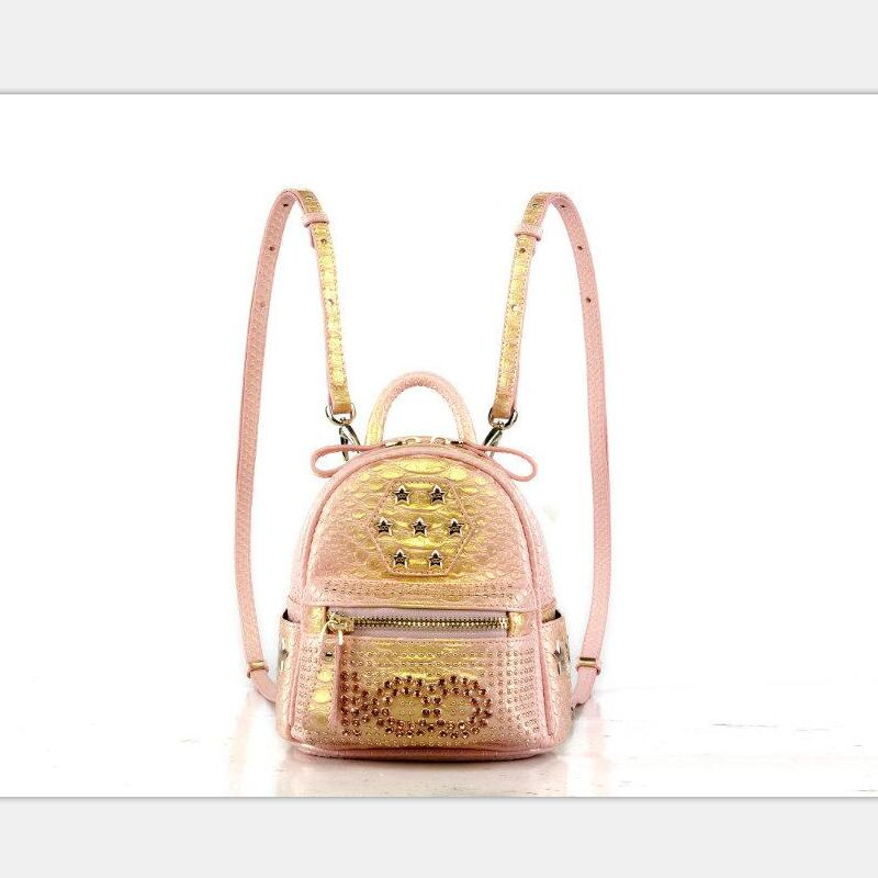 pink rivet ladies bagpack black pu leather backpack men brand factory price wholesale