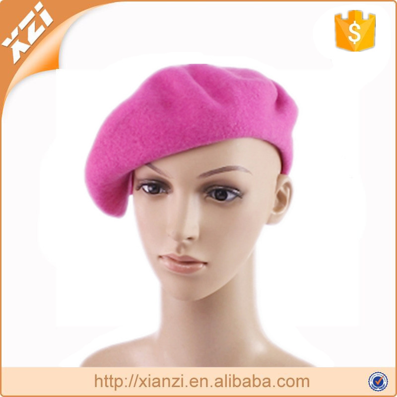 Solid colored beret fancy knitted hat ladies beret hat