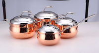 triply copper triply Apple Shape 3-ply clad metal cookware set mirror polish sauce pot with stainless steel lid