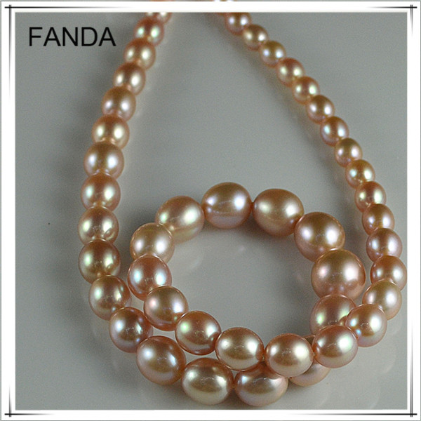 Graduated seed freshwater pearl necklace strands/graduated rice loose pearl strands