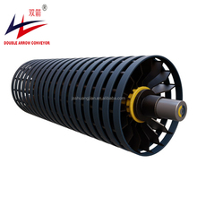Customized belt conveyor coating rubber spiral wing tail drum pulley