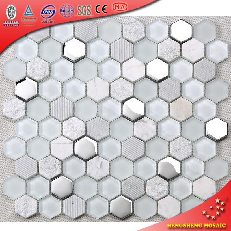 HSL18 White Crystal Hexagon Stone mixed shinning Glass Mosaic Tile for wall decoration